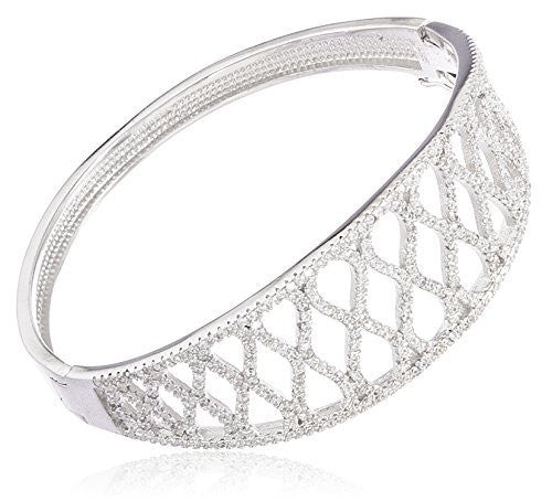 Sterling Silver Bangle Bracelet Fancy Bridal with Cubic Zirconia Stones (Silver)