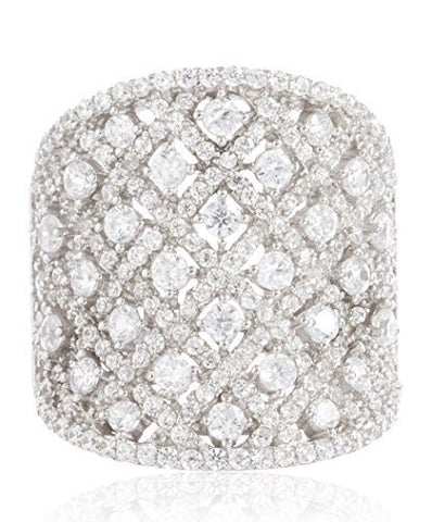 Silver  Fancy Bling Ring with Cubic Zirconia Stones