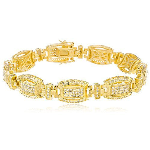 Sterling Silver Gold Plated Link Bracelet 8.5 Inch with Cubic Zirconia