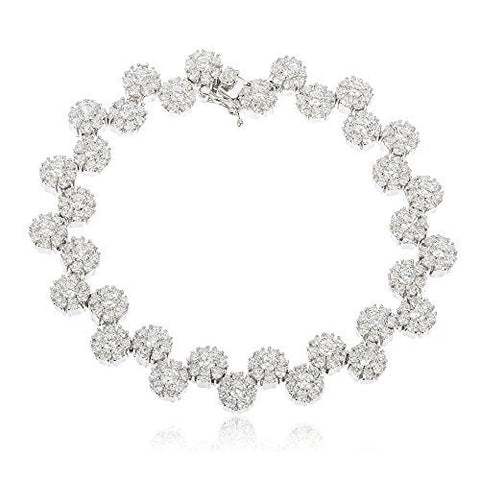 Sterling Silver Tennis Bracelet Iced Out Sunflower Cluster with Cz Stones (8 Inches)