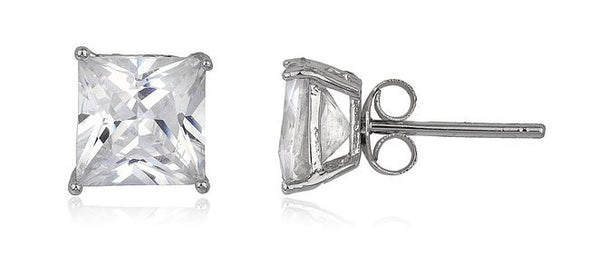 Silver Cz Square Basket Setting Stud Earrings (rhodium-plated-silver, 7 Millimeters)