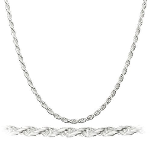 925 Italy Sterling Silver 1.5mm Rope Chain Nickel Free