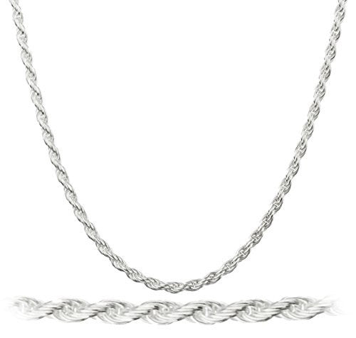 925 Italy Sterling Silver 2mm Rope Chain Nickel Free - 7 To 40 All Sizes Available