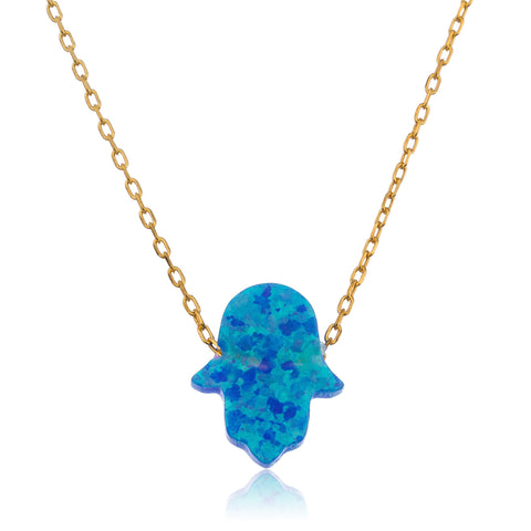 925 Sterling Blue Created Opal Hamsa Pendant Necklace - Rhodium Or Goldtone
