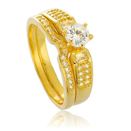 925 Sterling Gold Plated With Round Cz Caged Stone Engagement Ring 2 Piece Set Sizes 6-9