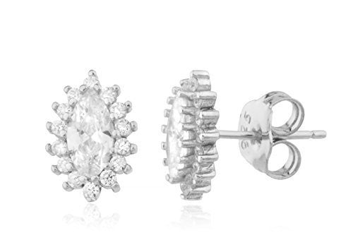 925 Sterling Marquise Shaped Stud Earrings With Cz Stones