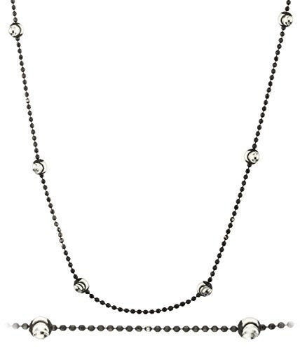 925 Sterling Silver 4mm Oval Moon Cut Beaded Jet Black Link Chain