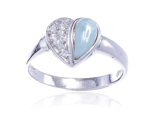 925 Sterling Silver Centered Heart With A Created Larimar Stone And CZ Stones