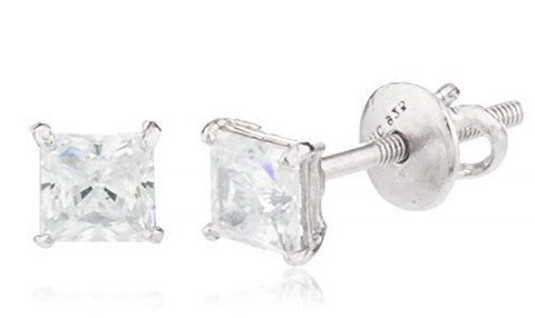925 Sterling Silver Clear Square Cz Stone Stud Earrings (Multiple Sizes Available