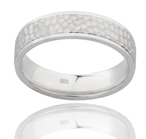 925 Sterling Silver Comfort Fit Pebble Design Finger Ring