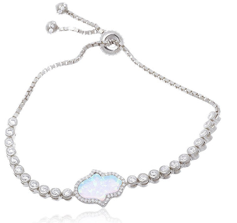 925 Sterling Silver Created Opal Hamsa Bezel Cubic Zirconia Adjustable 7 Inch Bracelet - Available In Silver And Vermeil