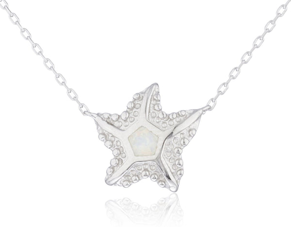 925 Sterling Silver Created Opal Starfish Pendant W/ An 18 Inch Necklace (White)