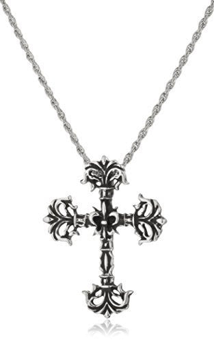 925 Sterling Silver Cross Fleury With An 18 Inch Rope Chain Necklace