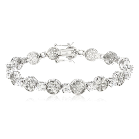 925 Sterling Silver Fancy Micro Pave Disk Tennis Bracelet With Cz Stones