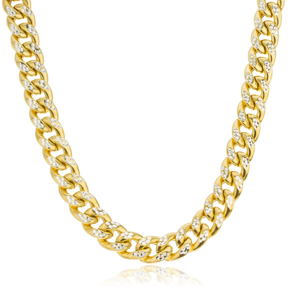 925 Sterling Silver Goldtone Two Tone 10mm Cuban Chain Pave Necklace