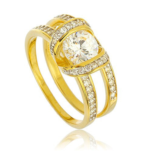 925 Sterling Silver Goldtone With Suspended Round Cz Stone Engagement Ring 2 Piece Set Sizes 7-9