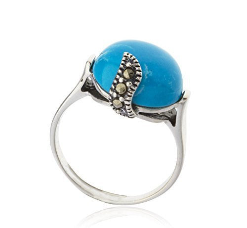925 Sterling Silver Swiss Marcasite Round Turquoise Ring