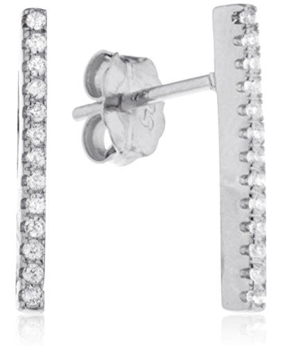 925 Sterling Silver Vertical Bar With Stones Stud Earrings