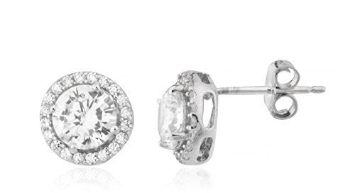 925 Sterling Silvertone Small Stones Around Clear Cz Stone Round 8mm Stud Earrings