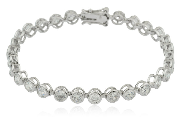 Sterling Silver Tennis Bracelet 7.75 Inch Circle Shaped with Multiple CZ Stones