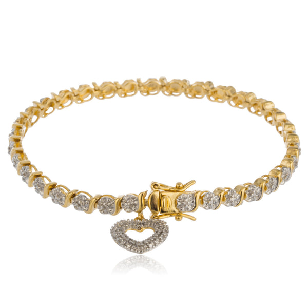 Sterling Silver Tennis Gold Plated Bracelet 7.5 Inch Braided Design with Hearts