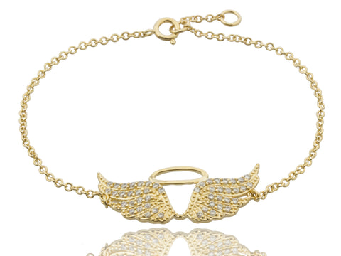 Gold Plated Angel Wings and Halo Charm Link Bracelet with Cubic Zirconia Stones