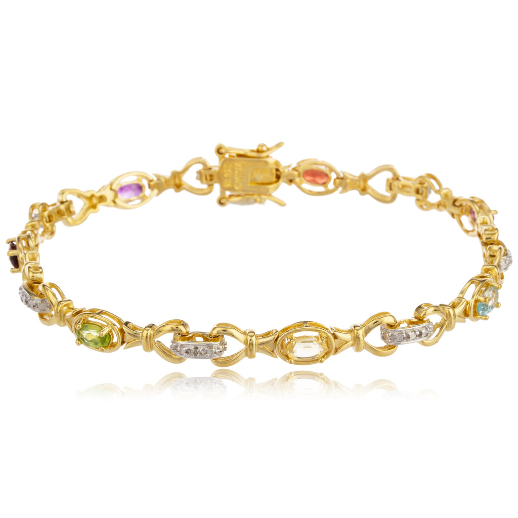 Gold Plated 7.5 Inch Tennis Bracelet with Multicolored Cubic Zirconia