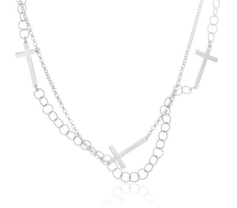 Silver Double Layer Multi Crosses on a 48 Inch Link Necklace