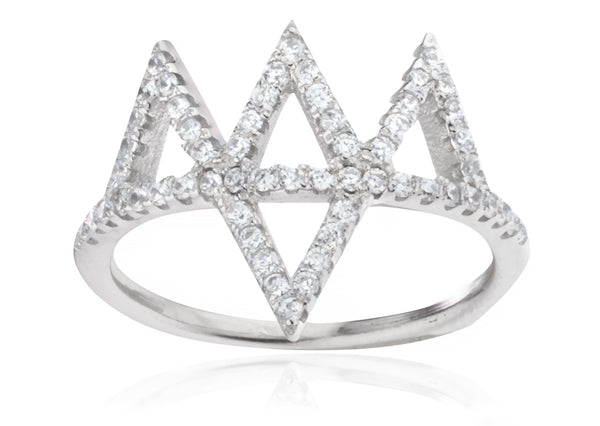 Silver  'Crown' Finger Ring