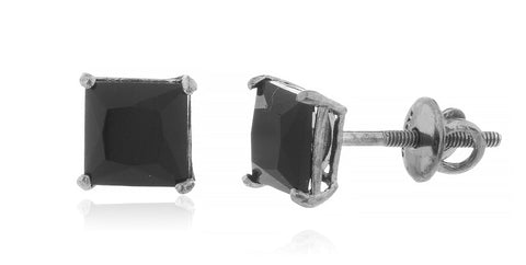 Square Black Cz Stone Stud Earrings (Multiple Sizes Available)