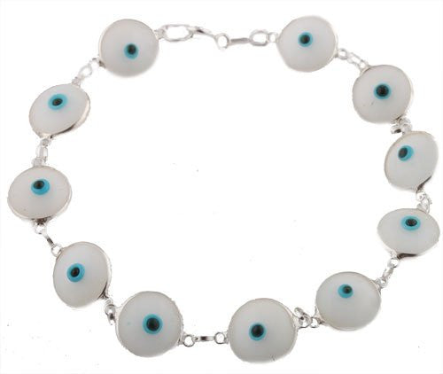 Cream White Real 925 Sterling Silver 7 Inch Evil Eye Bracelet