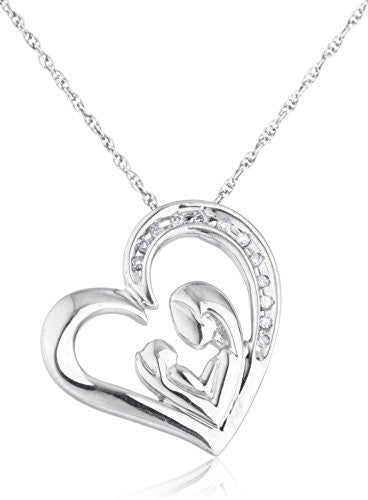 Diamond Collection - 925 Sterling Silver 1/20 Cttw Diamond A Mother's Love Heart Pendant With An 18 Inch Singapore Necklace