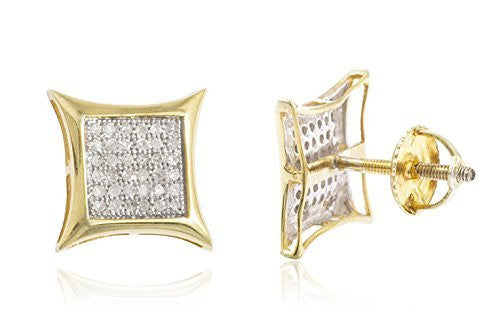 Diamond Collection - 925 Sterling Silver Vermeil 1/4 Cttw Diamond Screw Back Stud Earrings