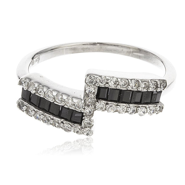 Ladies 925 Sterling Silver Modern Double Bar Band With Black Baguette Cubic Zirconia Stones