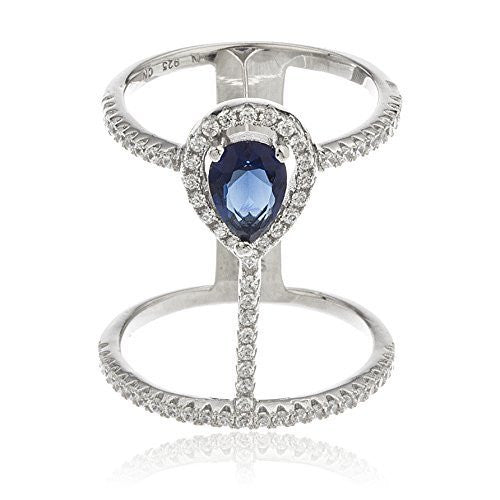 Ladies 925 Sterling Silver Sapphire Double Finger Ring With Cubic Zirconia Stones