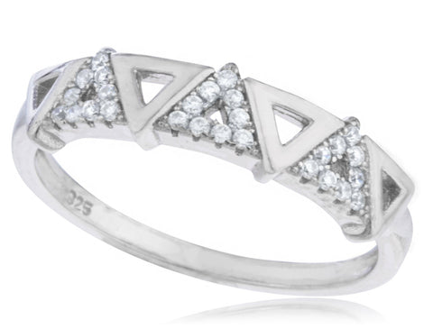 Ladies 925 Sterling Silver 'Stone Pyramid' Ring With Cubic Zirconia