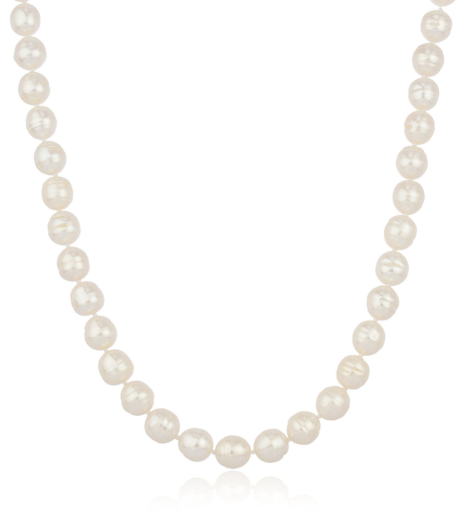 Ladies Real 925 Sterling Silver 12mm White Rice Simulated Pearl Beaded 18 Inch Necklace With Matching Stretch Bracelet Jewelry Set