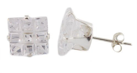 Ladies Real 925 Sterling Silver 9mm Cubic Zirconium Square Four Prong 9 Cut Stud Earrings