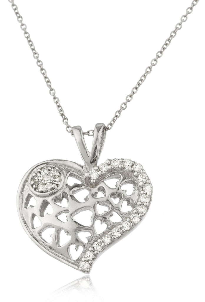 Ladies Real 925 Sterling Silver Caged Heart 'Unconditional Love' With Cz Stones And An 18 Inch Link Necklace