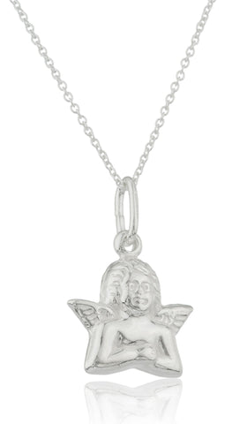 Ladies Real 925 Sterling Silver 'Celestial Angel' Pendant With An 18 Inch Link Necklace