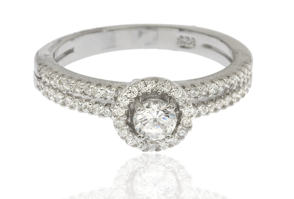 Ladies Real 925 Sterling Silver Cubic Zirconia Two-tier Round Shaped Stone Engagement Ring Size 7