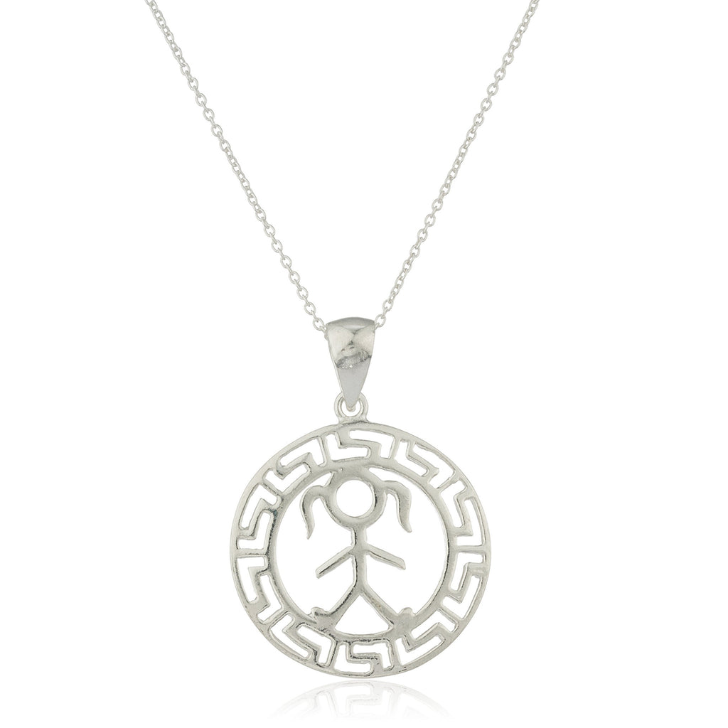Ladies Real 925 Sterling Silver Female Figure Greek Key Design Pendant With An 18 Inch Link Necklace