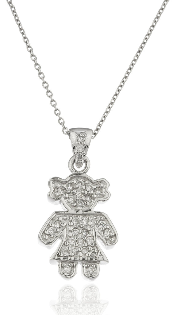 Ladies Real 925 Sterling Silver Female Figure Pendant With Cz Stones And An 18 Inch Link Necklace