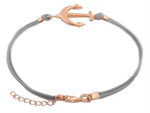 Ladies Real 925 Sterling Silver Grey With Rose Gold Anchor Adjustable Bracelet
