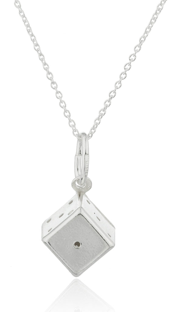 Ladies Real 925 Sterling Silver 'High Roller' Dice Pendant With An 18 Inch Link Necklace