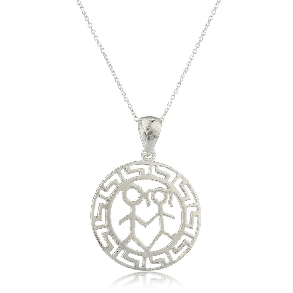 Ladies Real 925 Sterling Silver 'Him And Her' Greek Key Design Pendant With An 18 Inch Link Necklace