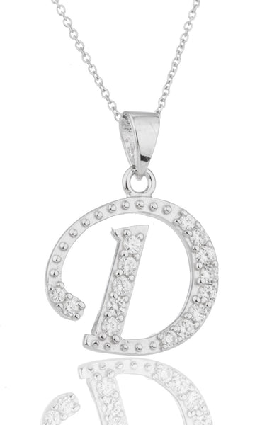 Ladies Real 925 Sterling Silver 'Letters Of The Alphabet' Pendant With Cz Stones And An 18 Inch Link Necklace (D)