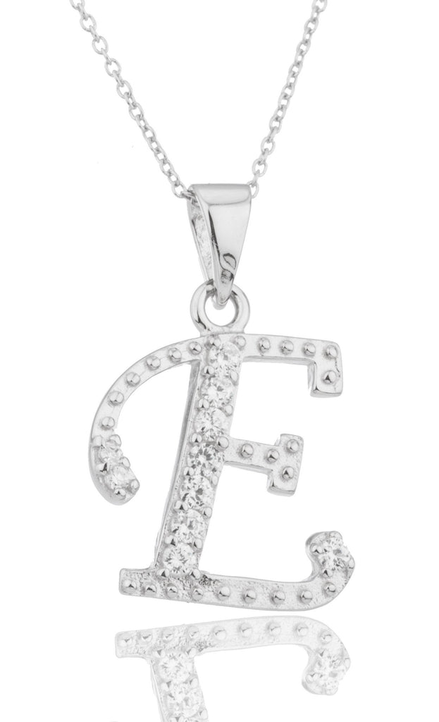 Ladies Real 925 Sterling Silver 'Letters Of The Alphabet' Pendant With Cz Stones And An 18 Inch Link Necklace (E)