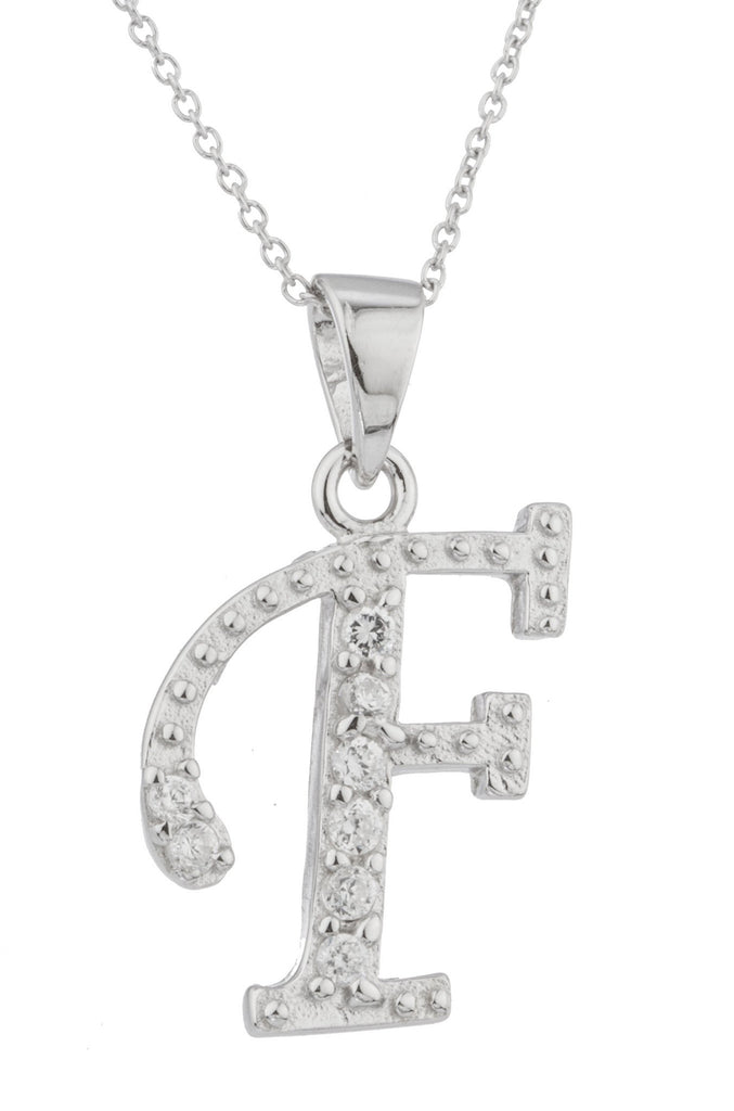 Ladies Real 925 Sterling Silver 'Letters Of The Alphabet' Pendant With Cz Stones And An 18 Inch Link Necklace (F)