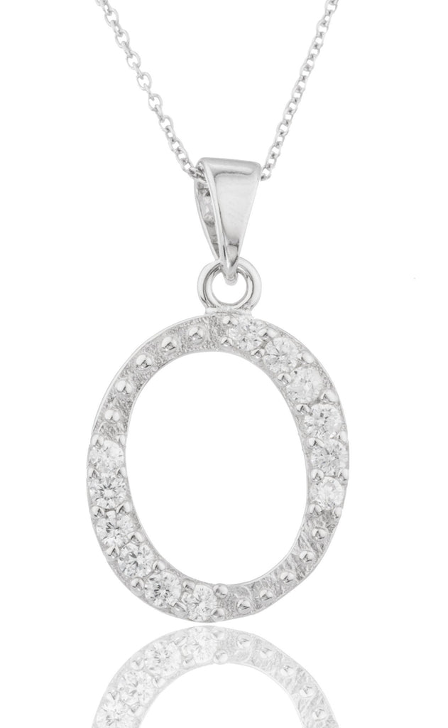 Ladies Real 925 Sterling Silver 'Letters Of The Alphabet' Pendant With Cz Stones And An 18 Inch Link Necklace (O)